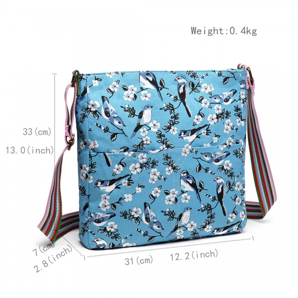 L1104-16J - Miss Lulu Canvas Square Bag Bird Print Blue