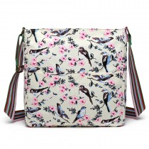 L1104-16J - Miss Lulu Canvas Square Bag Bird Print Beige
