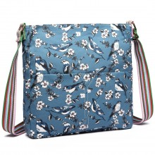 L1104-16J D BE-Miss Lulu Canvas Square Bag Bird Print Dark Blue