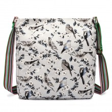 L1104-16J - Miss Lulu Canvas Square Bag Bird Print Grey