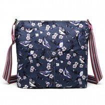 L1104-16J - Miss Lulu Canvas Square Bag Bird Print Navy