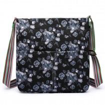 L1104-16ROSE - Miss Lulu Canvas Square Bag Rose Print Black