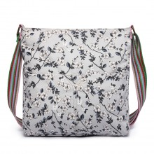 L1104-16F - Miss Lulu Canvas Square Bag Flower Print Grey