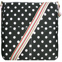 L1104D2 - panna Lulu Canvas Square Bag Polka Dot Black