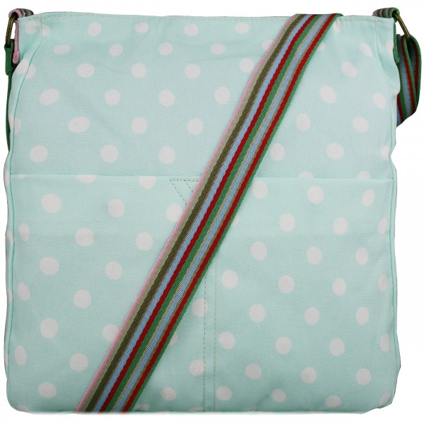 L1104D2 - Miss Lulu Canvas Square Bag Polka Dot Light Blue