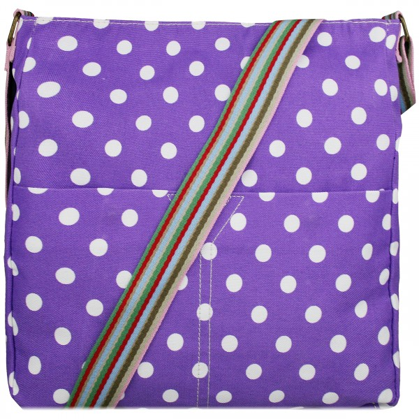 L1104D2 - Miss Lulu Canvas Square Bag Polka Dot Purple