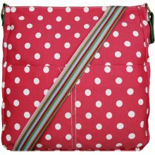 L1104D2 - Miss Lulu Canvas Square Bag Polka Dot Plum