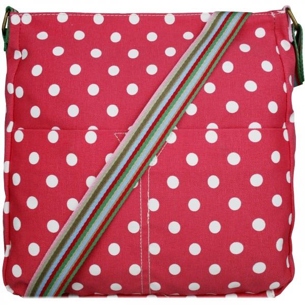 L1104D2 - Miss Lulu Canvas Square Bag Polka Dot Plum