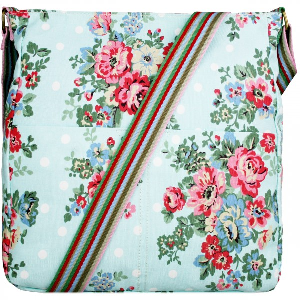 L1104F - Miss Lulu Canvas Square Bag Flower Polka Dot Light Blue