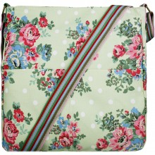 L1104F - Miss Lulu Canvas Square Bag Flower Polka Dot Green