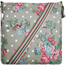 L1104F - Miss Lulu Canvas Square Bag Flower Polka Dot Grey