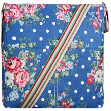 L1104F - Miss Lulu Canvas Square Bag Flower Polka Dot Navy