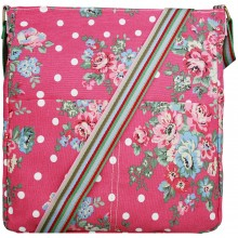 L1104F - Miss Lulu Canvas Square Bag Flower Polka Dot Plum