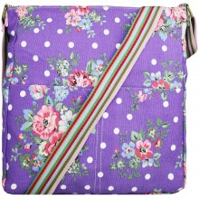 L1104F - Miss Lulu Canvas Square Bag Flower Polka Dot Purple