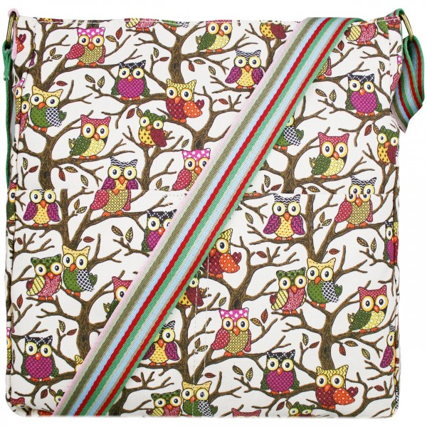 L1104W - Miss Lulu Canvas Square Bag Owl Pink