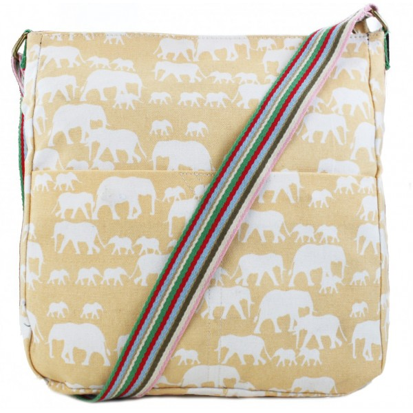 L1104E - Miss Lulu Canvas Square Bag Elephant Beige