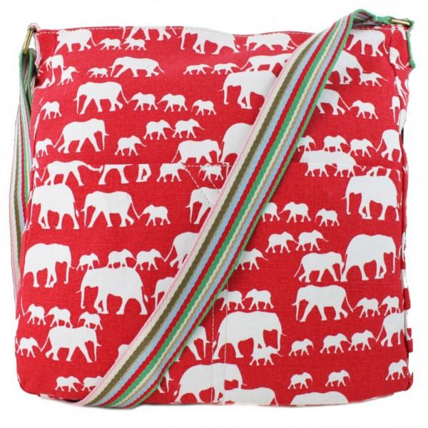 L1104E - Miss Lulu Canvas Square Bag Elephant Red