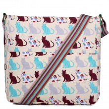 L1104CT - Sac Miss Lulu carré en toile Chats en beige