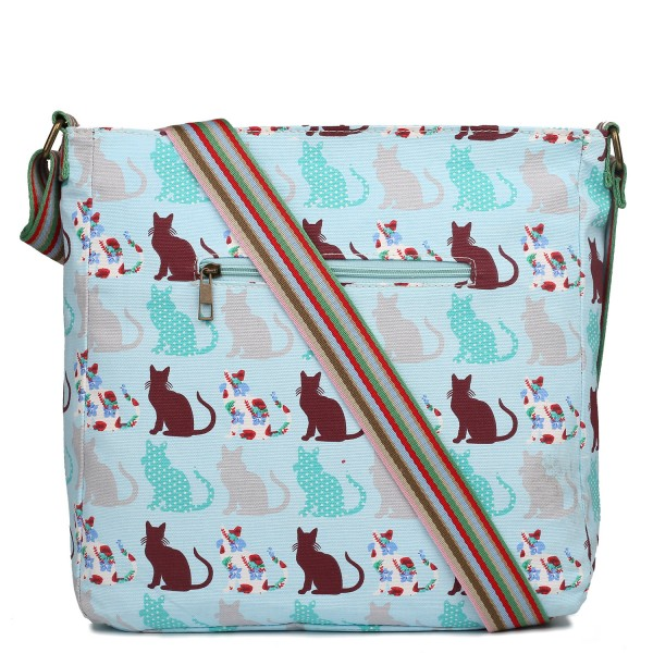 L1104CT - Miss Lulu Canvas Square Bag Cat Blue