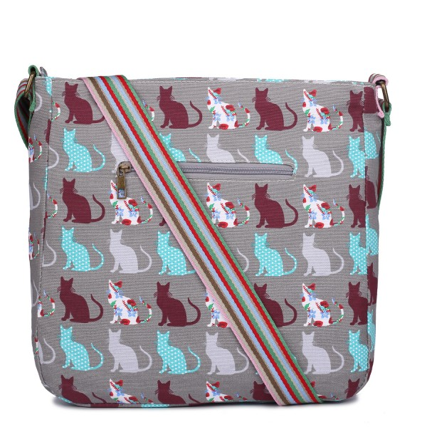 L1104CT - Miss Lulu Canvas Square Bag Cat Grey