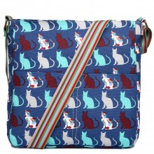 L1104CT - Miss Lulu Canvas Square Bag Cat Navy