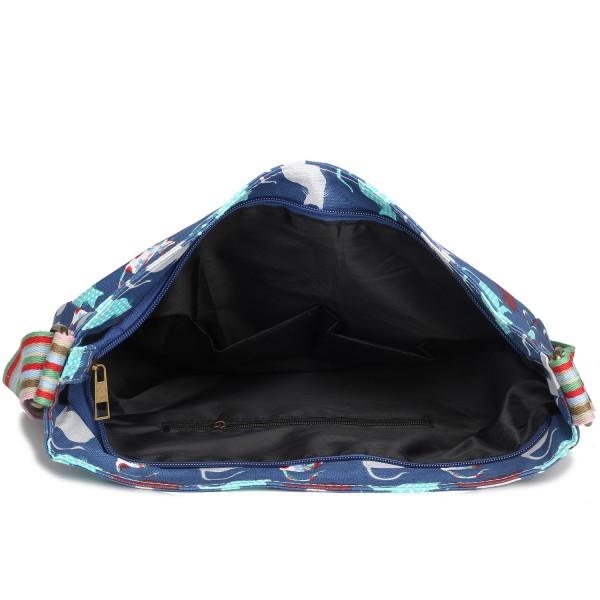 L1104CT - Miss Lulu Canvas Square Bag Cat Navy