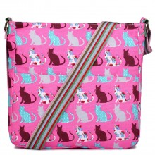 L1104CT - Sac Miss Lulu carré en toile Chats en rose