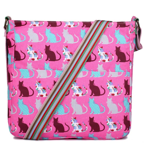 L1104CT - Miss Lulu Canvas Square Bag Cat Pink
