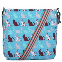 L1104CT - panna Lulu Canvas Square Bag Cat Teal