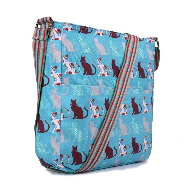 L1104CT - Miss Lulu Canvas Square Bag Cat Teal