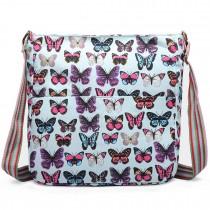 L1104B - Bolso cuadrado Miss Lulu de lona con mariposas celeste