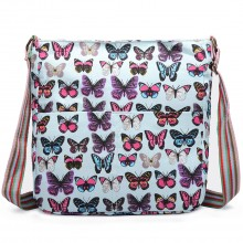 L1104B - Miss Lulu Canvas Square Bag Butterfly Light Blue