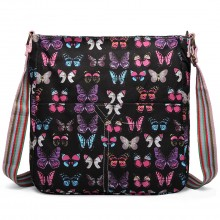 L1104B - Miss Lulu Canvas Square Bag Butterfly Black