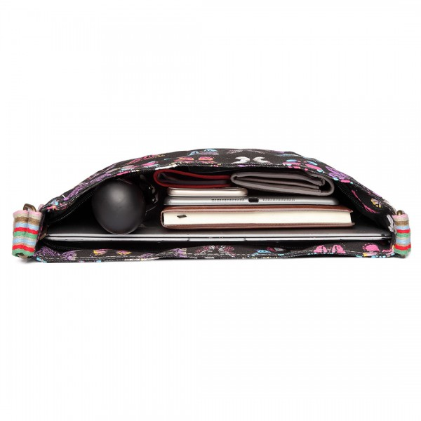 L1104B - Miss Lulu Canvas Square Bag Butterfly Black