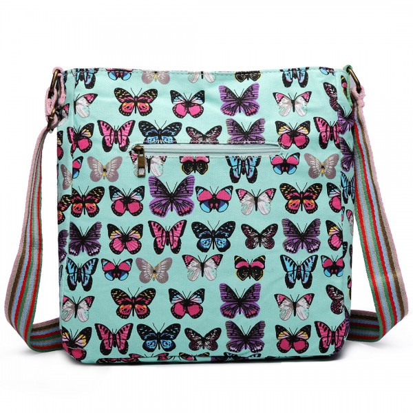 L1104B - Miss Lulu Canvas Square Bag Butterfly Green