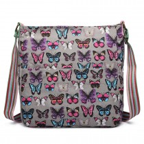 L1104B --Miss Lulu Canvas Square Bag Butterfly Grey