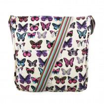 L1104B - Miss Lulu Canvas Square Bag Butterfly Beige