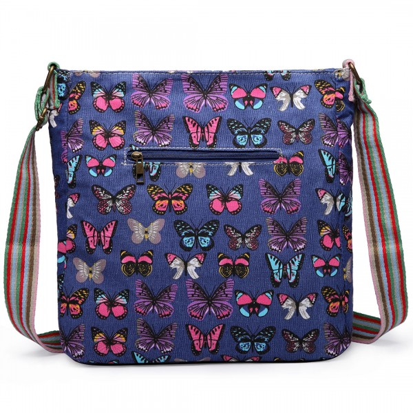 L1104B - Miss Lulu Canvas Square Bag Butterfly Navy
