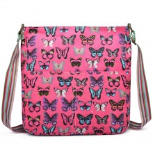 L1104B - Miss Lulu Canvas Square Bag Butterfly Plum
