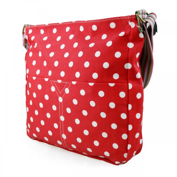 L1104D2 - Miss Lulu Canvas Square Bag Polka Dot Red