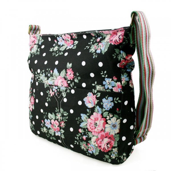 L1104F - Miss Lulu Canvas Square Bag Flower Polka Dot Black
