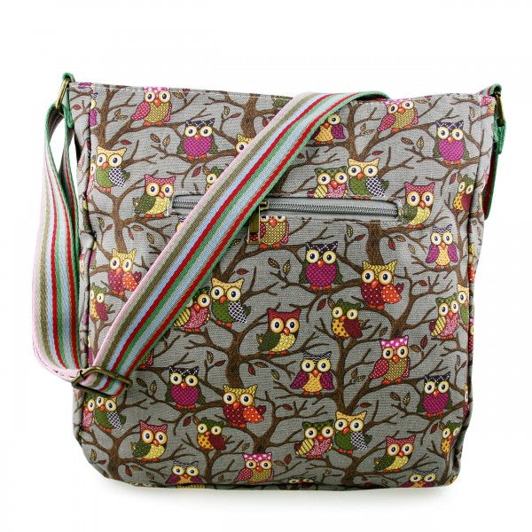 L1104W - Miss Lulu Canvas Square Bag Owl Grey