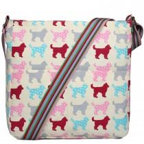 L1104NDG--- Miss Lulu Canvas Square Bag Dog Beige