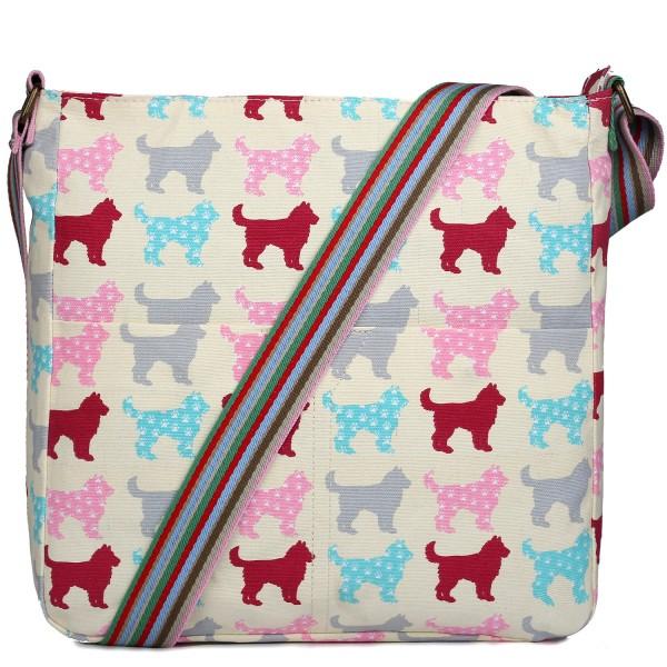 L1104NDG - Miss Lulu Canvas Square Bag Dog Beige