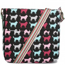 L1104NDG - Miss Lulu Canvas Square Bag Dog Black