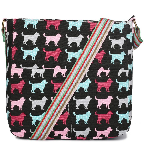 L1104NDG - Miss Lulu Canvas Square Bag Dog Black
