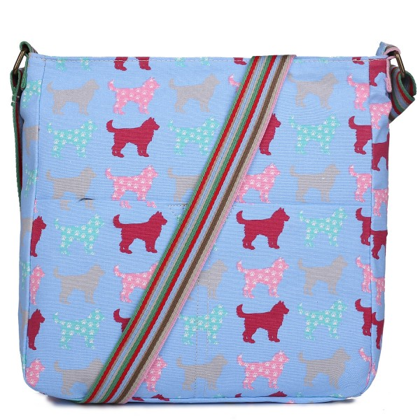 L1104NDG - Miss Lulu Canvas Square Bag Dog Blue