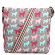 L1104NDG - Miss Lulu Canvas Square Bag Dog Grey
