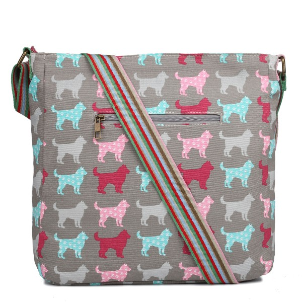 L1104NDG - Miss Lulu Canvas Square Bag Dog Grey