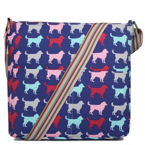 L1104NDG - Miss Lulu Canvas Square Bag Dog Navy